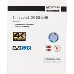 Maximum Unicable2 LNB (DCSS) med 24 frekvenser.