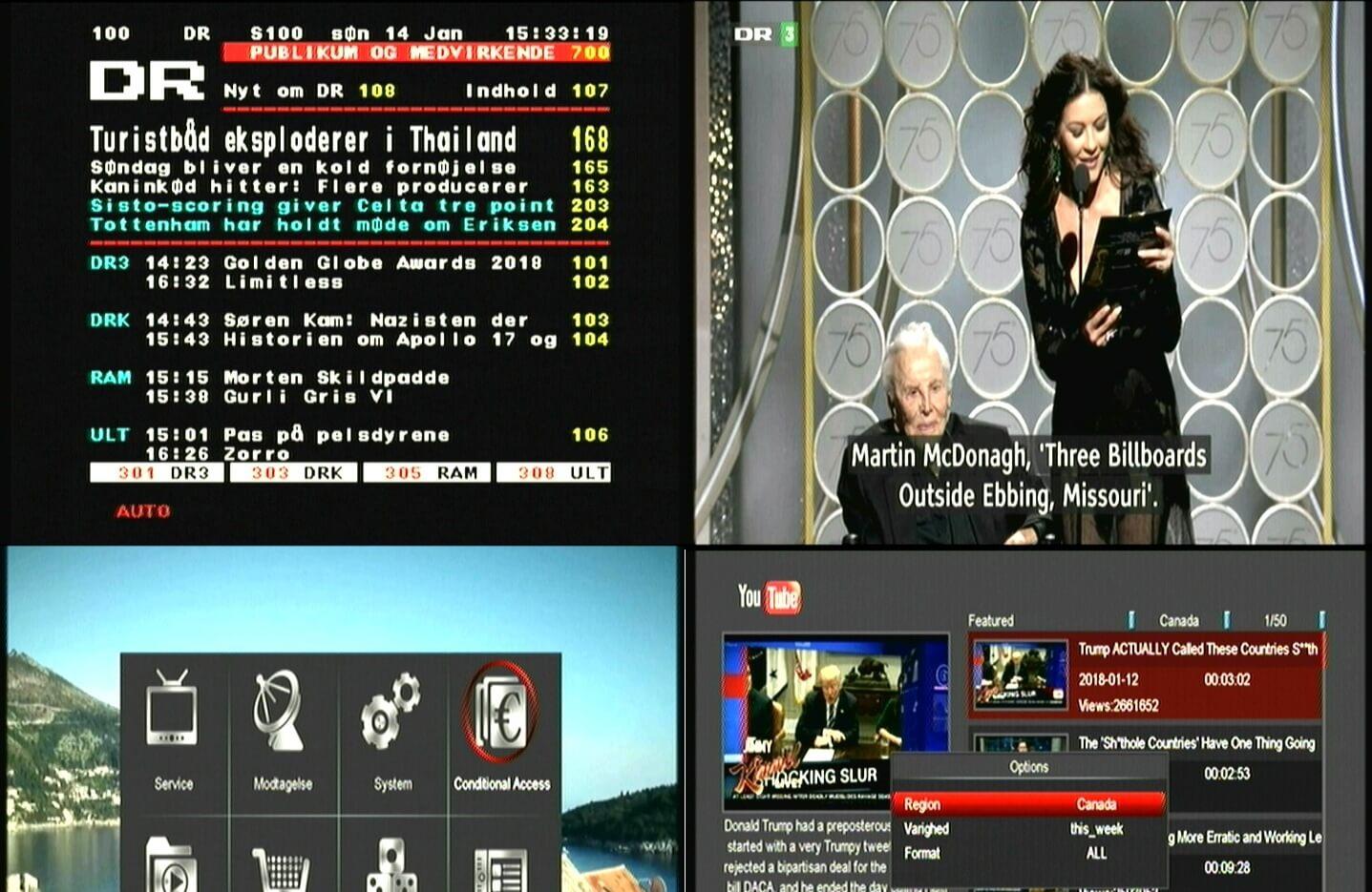 Menu eksempel fra Digitalmodtager Edision Piccollo DVT-T2 ogh DVB-S2 modtager.