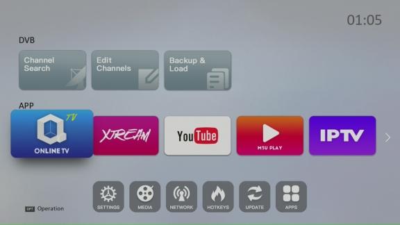 Hoved menu IPTV boks og SAT modtager Qviart OGs